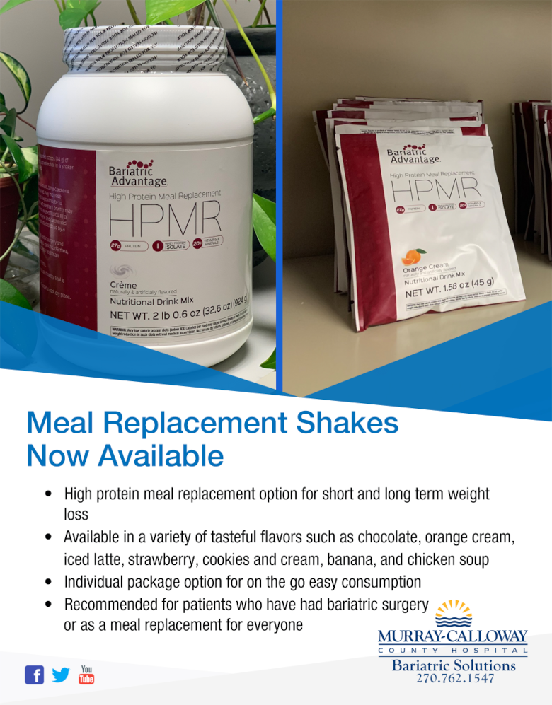 Meal Replacement Shakes at Murray Bariatric Solutions